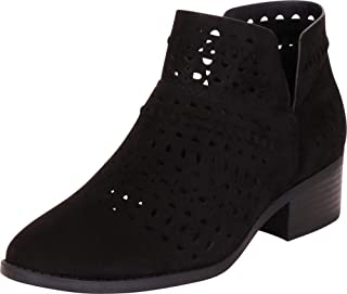 Cambridge Select Women's Caged Laser Cutout Whipstitch Stacked Block Heel Ankle Bootie