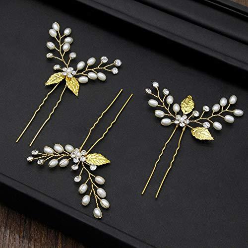 XNheadPS Golden Leaf Braut Kopfschmuck Perle Kristall Haarschmuck Hochzeitskleid Mit Schmuck Krone Stirnband Haarband 3er Pack