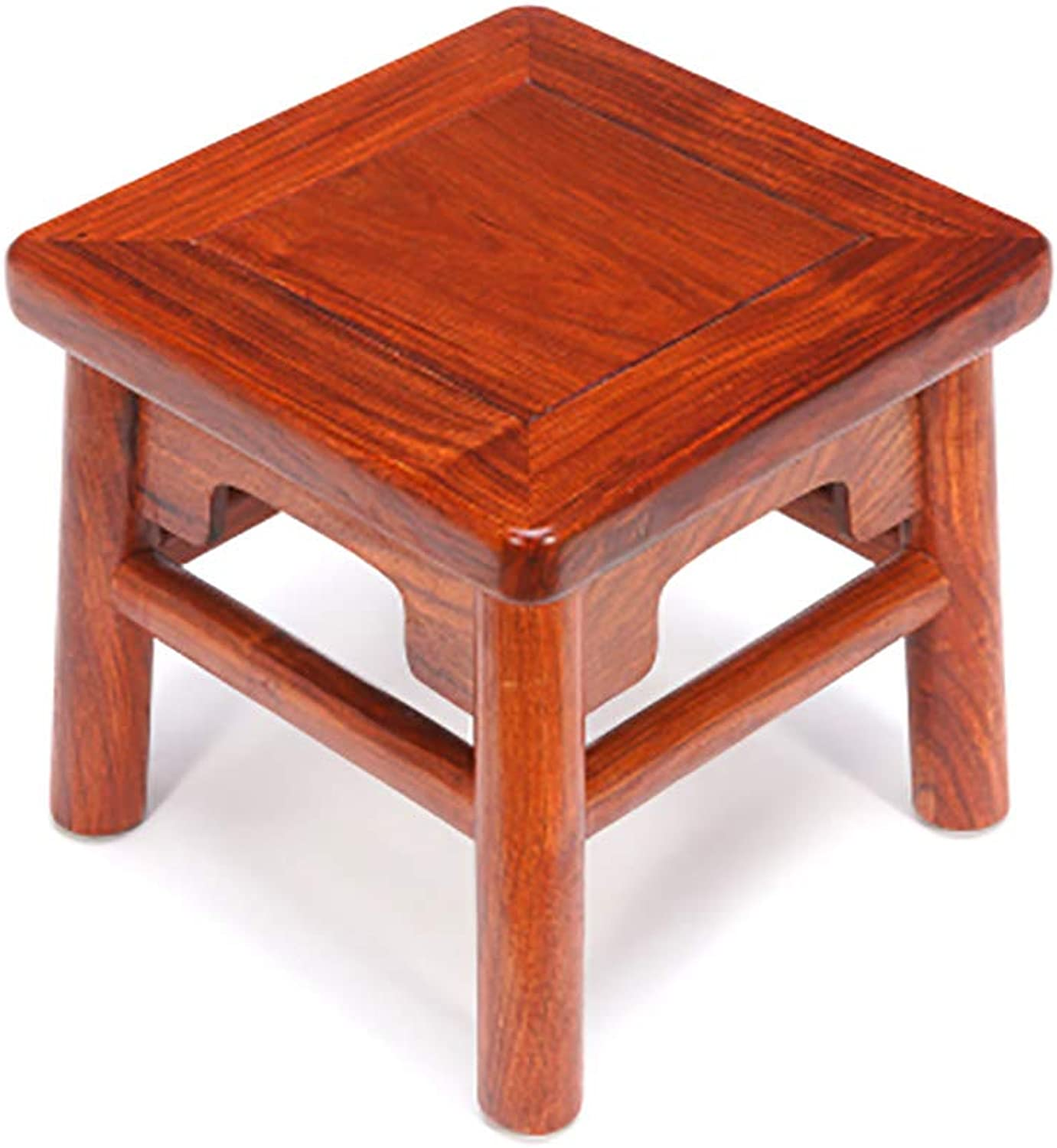 Stool Wooden stool Change shoe bench Coffee table stool Solid wood Square Household (redwood) (Size   28  28  26cm)