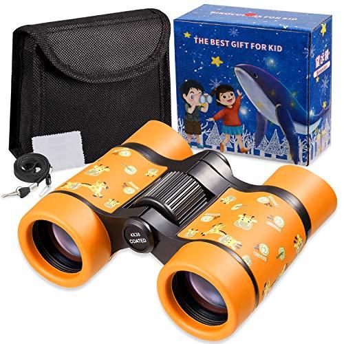 Newraturner Rubber 4x30mm Toy Binoculars for Kids - Waterproof Folding Small Kids Telescope for Bird...