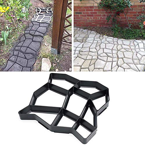 Molde de plástico para hacer caminos de jardín, modelo de pavimento, piedra de hormigón, ladrillo, Plastic mold for making garden path, pavement pattern, concrete stone, brick, (E)