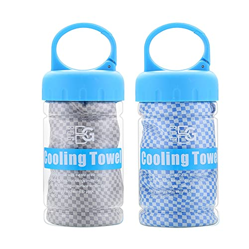 BOGI 2 Pack Cooling Towel, Cooling Towels for Neck and Face-40'x12'- Ice Towel for Instant Cooling, Soft Breathable Chilly Towel, Stay Cool for Yoga, Sport, Gym, Camping & More Activities(Blue+Grey)