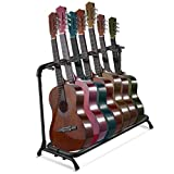 Flexzion Multi Guitar Stand Rack 7 Multiple Holder - Universal Instrument Display Stand, Folding Padded Storage Organizer, Band Stage Bass Slot for Electric Acoustic Guitars Ukulele Music Instruments