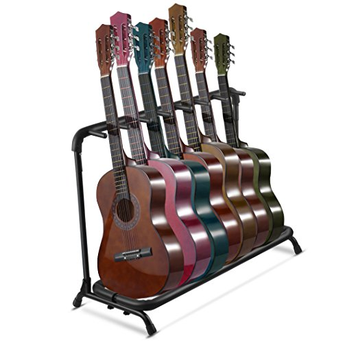 Flexzion Multi Guitar Stand Rack 5 Multiple Holder - Universal Instrument Display Stand, Folding Padded Storage Organizer, Band Stage Bass Slot for Electric Acoustic Guitars Ukulele Music Instruments