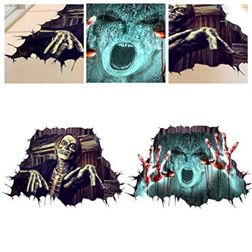 Wakauto 2Pcs Halloween Gebrochen Wandaufkleber Schrecklichen Zombie Helfen Mir Bodenaufkleber Vinyl Wandtattoo Boden Decke Tapete für Fenster Spukhaus Bar Dekor