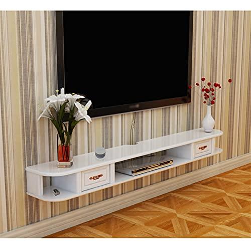 WXLW- shelf Estante Flotante Montado en Pared TV Estante TV Soporte TV Flotante TV Media Consola Gabinete de Pared Componente TV Estante Colgante de Almacenamiento para Cajas de Cable