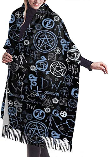 Irener Wickeldecke Schal, Women's Scarf Supernatural Symbols Classic Tassel Plaid Scarf Autumn And Winter Warm Scarf