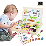ODDODDY Educational Wooden Toys Magnetic Puzzles Art Easel Drawing Board Letters and Numbers Animals Puzzles Magnets Preschool Homeschool Supplies Learning Games Gifts for Kids Toddlers Boy Girl