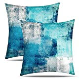Drmstow Teal Pillow Covers Turquoise and Grey Throw Pillow Covers 18x18 Set of 2 Blue Home Decorative Accent Pillow Case for Living Room Couch Sofa Bedroom Décor