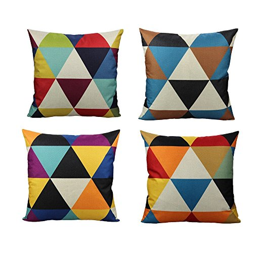 All Smiles Coloured Geometric Cushion Covers Multicolour Funky Colourful Triangle Pillow Cover Outdoor Set of 4 18x18 for Sofa Living Room, Yellow Teal Blue Black Purple Red