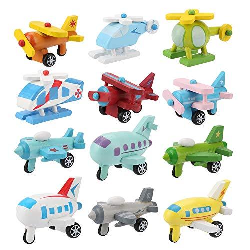 12 Teile Holz Spielzeug Autos Set Baby Cartoon Spielzeug Fahrzeug Set Frühe Pädagogische Verkehrs Spielzeug Autos Flugzeug Polizeiauto Set für Jungen Mädchen Kinder Geschenk(#2)