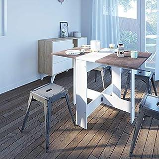 Modern Loft Mesa Plegable Blanco y Gris 103 x 76 x 73.4 cm