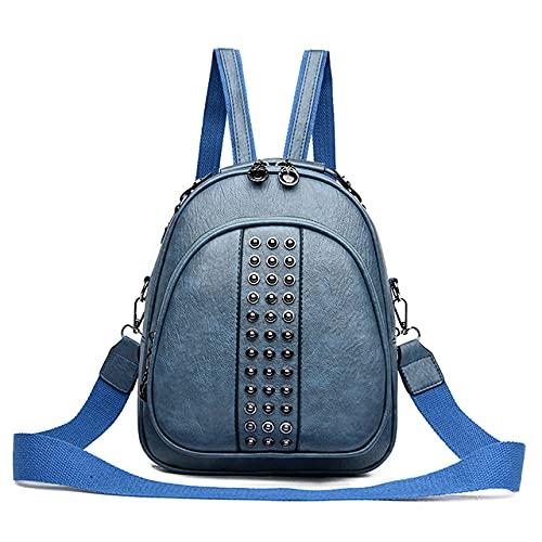 MIMITU Mochila con remaches de moda para mujer Mini mochilas de cuero para mujer Mochilas de viaje multifunción mochilas escolares para adolescentes, azul