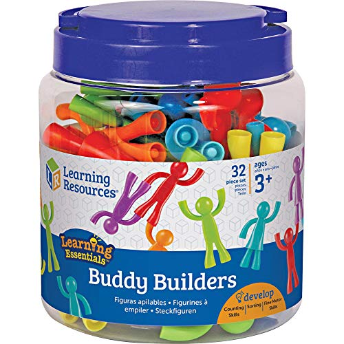 Learning Resources Buddy Builders, Fine Motor, Hand Eye Coordination Toy, 32 Pieces, Ages 2+
