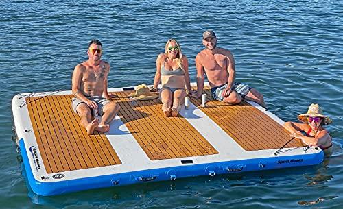 Inflatable Sport Boats Mega Yacht Dock 10' x 10' Inflatable Water Platform Dock