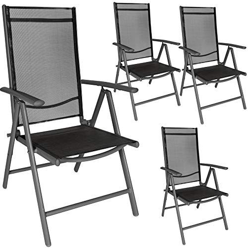 TecTake Ensemble de 4 Chaises de Jardin en Aluminium, Pliable, Anthracite