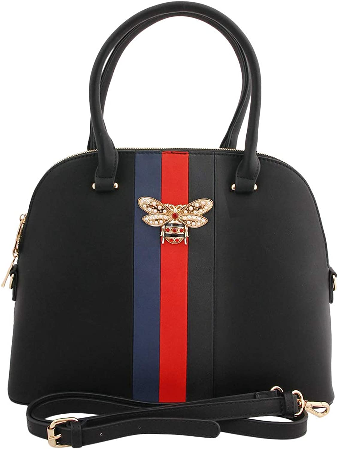 Black Vegan Leather Handbag with Stripes and Rhinestone Bee Detail