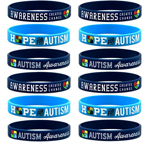 (12-Pack) Autism Awareness Bracelets Assortment Mix - Wholesale Bulk Autism Awareness Products, Autism Jewelry and Giveaway Gifts