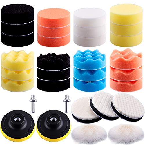 SIQUK 33 Pieces Car Polishing Pad Kit 3 Inch Buffing Pads Foam Polish Pads Polisher Attachment for Drill