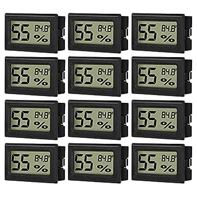 Linkstyle 12-Pack Mini Digital Humidity Thermometer Hygrometer Temperature Meters Gauge Indoor Lcd Display Fahrenheit (℉) for Guitar Reptile Greenhouse Humidor Cigar Home Room Black