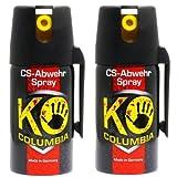 Columbia Familien Set: 2X 40ml Original KO-CS Abwehrspray Verteidigungsspray - Made in Germany!