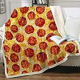 Manta de lana suave para pizza y queso, pizza, sherpa, decoración del hogar para todas las estaciones para cama, sofá, sala de estar (127 x 152 cm)