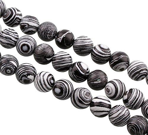 Perlas de ágata rayas redondo 8 mm ágata Perla Piedra Natural 15stk. semi preciosas piedras, negro blanco, 8 mm