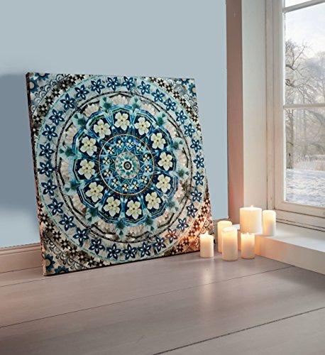 Pureday Bild Blue Mandala - Leinwanddruck - Blau - ca. 80 x 80 cm