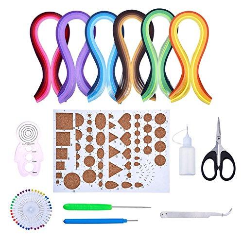 Gosear Material de Papel de Quilling Completo Papel de 600 Tiras con 8 Tipos Kit de Herramientas Necesario para Principiantes Adultos avanzados de Quiller Niños