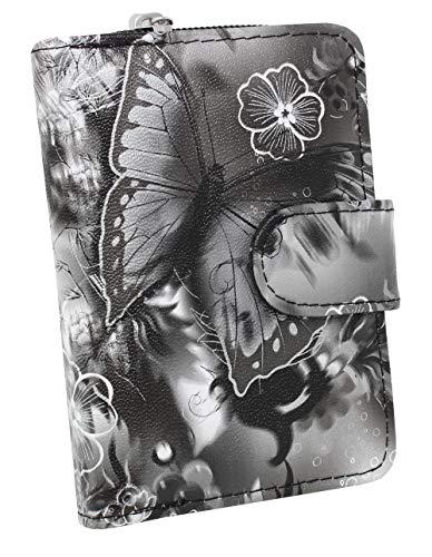 DAMEN Portemonnaie Geldbörse Geldbeutel Schmetterlingsmotiv Trend MODERN VIELE FARBEN (Schwarz)