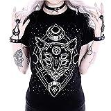 Tee Shirt Punk - OSYARD T T-Shirt a Manches Courte Chat Rock and Roll Gothique Imprimé tête Chat à Lunettes