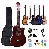 Rosefinch 38' Acoustic Guitar 6 Metal Strings Basewood Folk Guitar Adults Beginner Kit Bag Tuner Strap Capo Pick-Guard Steel String Winder Cloth (38 inch BROWN)