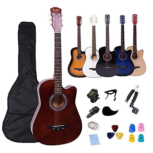 38' Acoustic Guitar 6 Metal Strings Basewood Folk Guitar Adults Beginner Kit Bag Tuner Strap Capo Pick-Guard Steel String Winder Cloth (38 inch BROWN)