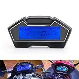 Velocímetro universal de motocicleta de 12 V 13000 RPM 1-4 Kph / Mph Cilindro Pantalla de nivel de combustible Medidor de tacómetro LCD digital Odómetro
