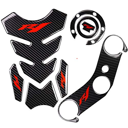 REVSOSTAR 5D Real Carbon, Motorcycle Gas Tank Protector, Tank Pad Sticker, Tank Cap, Fuel Cap Decal, Top Clamp Triple Tree Pad with Keychain for R1, 4 Pcs Per Set