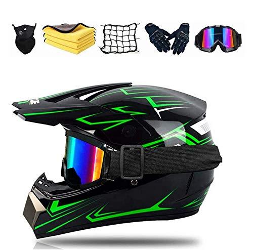 Casco da Motocross Fuoristrada per bambini, D.O.T Certificato Casco della Bicicletta, All Terrain Motocross Downhill casco cross con occhialini guanti maschera Per Quad Bike ATV Go-Kart. (L)