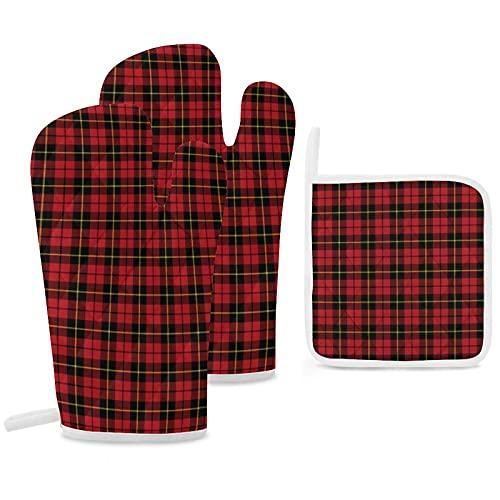 Wallace Clan Lot de 3 maniques de four et maniques antidérapantes réutilisables pour la cuisine, la pâtisserie, le barbecue