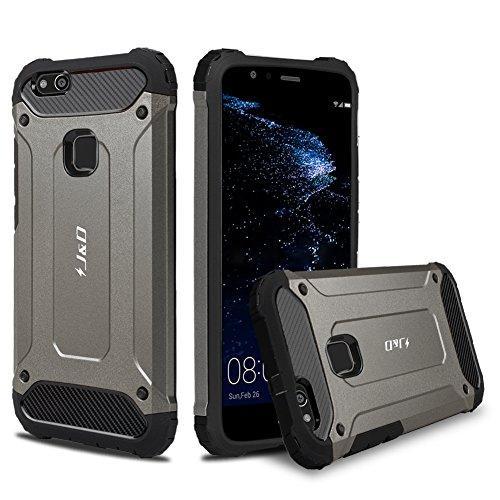 J&D Compatible para Huawei P10 Lite Funda, [Armadura Delgada] [Doble Capa] [Protección Pesada] Híbrida Resistente Funda Protectora y Robusta para Huawei P10 Lite - [No para Huawei P10/Huawei P10 Plus]