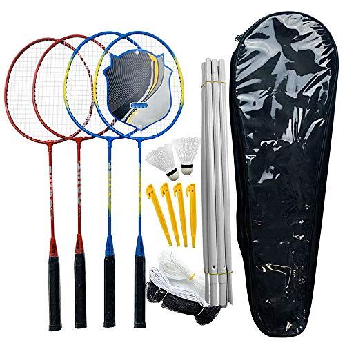 Irfora Juego de bádminton profesional de velocidad, raqueta de bádminton y bádminton ligero, juego de raqueta de bádminton y red ajustable para la playa o la espalda