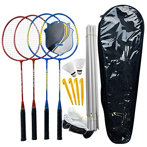 Irfora Badminton Set Speed Badminton Profi Badmintonschläger Leichtgewicht Badminton Sport Badminton Set Badminton Schläger, Birdies, Net, Adjustable Polls Beach oder Backyard Combo Set Spiele