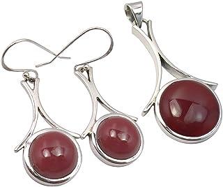 SilverStarJewel 925 Silver Round Cabochon Carnelian Earrings Pendant Matching GIRLS' Jewelry Set