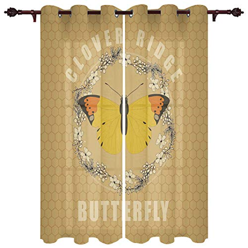 FAMILYDECOR Luxurious Window Treatment Drapes for Nursery Clover Ridge Butterfly Floral Retro Honeycomb Background Grommet Top Curtain Panels for Sliding Patio Door Kitchen Window 27.5'x39'x2 Panels