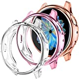 Dirrelo Compatible with Samsung Galaxy Watch Active 2 Screen Protector 44mm, 3 Pack Soft All-Around Anti-Scratch Bumper Protective TPU Case for Samsung Galaxy Watch Active 2, Clear+Rose Gold+Pink