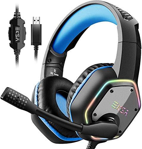 EKSA E1000 USB Gaming Headset für PC - Over Ear Headphones mit Kabel, Nosie Cancelling Mic, 7.1 Surround Sound, RGB-Licht - Gaming Kopfhörer mit Mikrofon für PS4/PS5 Konsole, Laptop - Blau