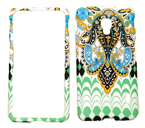 Elegant Tribal Design Rubberized Protective Cover Case for LG Optimus F6 D500 / MS500