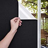 5. Beautyhero Blackout Window Film Sun Blocking Privacy Frosted Static Cling Window Tint Covering 100% Sun Light Blocking Removable Anti Glare Reflective Film for Home Black White 17.7x78.7 Inches