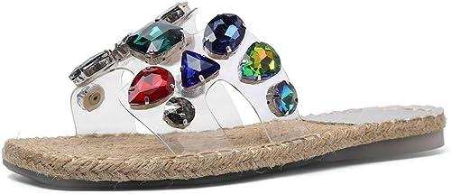 XLY Slip en Cristal Brillant Brillant pour Femmes sur des Sandales Plates, Chaussures de soirée à la Plage,Clear,40