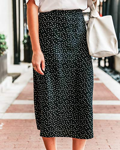 The Drop Women's Black and White Polka-Dot Printed Midi Skirt by @somewherelately