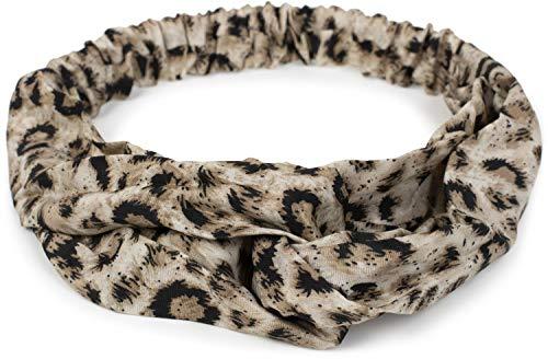 styleBREAKER Damen Haarband mit Leo Animal Print, Twist Knoten und Gummizug, Stirnband, Headband, Haarschmuck 04026020, Farbe:Creme-Beige-Schwarz