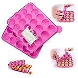 Junxave Stampi per torta pop gratuiti e vassoi per cubetti di ghiaccio bpa + 120 bastoncini in silicone rosa